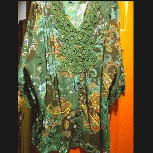 Roaman's Crochet Forest Green Floral Tunic Top 26W